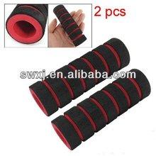 2 Pcs Bike Bicycle Anti Slip Sponge Handlebar Grip Black Red