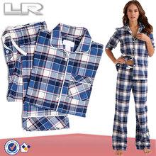 Womens 100% cotton long sleeve sleepwear,checked flannel pajama