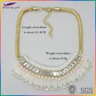 2014 best seller gold fake collar fashion bib statement beaded necklace jewelry