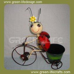 Creative beetles on the bike metal flower pots wholesale