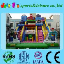 new design spiderman slide/ inflatable obstacle course slide for sale