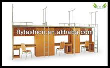 School student bunk bed/ school dormitory metal bunk bed with desk for sale