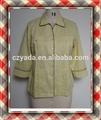 Nuevo estilo 3/4 de la manga del diseño Simple plisado amarillo caliente de la venta mujeres de la blusa