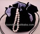 High quality black jewelry round bottom velvet bag with satin lining