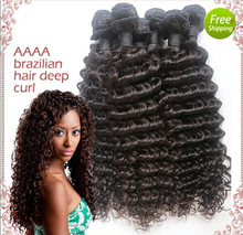 Virgin brazilian hair human hair deep curl weft 3pcs/lot free ship off black free shipping 100% cuticle