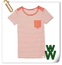 Women's U-neck T-shirt 100% cotton nice fit stripped clothes Taiwan fabric Taiwan manufacturing
