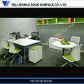 Dizer mundo qualidade superior acrílico pedraartificial l- forma branca mesa de escritório/tabela