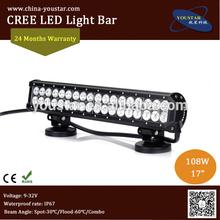 "9-32V 17"" 108W double row off road sxs led light bars"