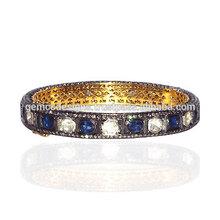 blu zaffiro pietre 14k oro rosa diamante taglio braccialetto 925 anniversario in argento sterling monili