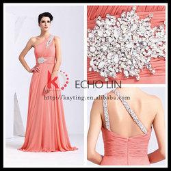 New one-shoulder soft pink engagement dresses