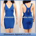 Style Number W365 blue frock design for lady dress short mini strap keyhole bandage dress