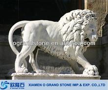 Big Aggressiveness Roaring stone marble lion statues