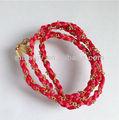 fashion wrap bracelets necklace satin ribbon braid with chain wrap bracelets necklace long braid rope wrap bracelets necklace