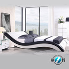Modern wave shape leather soft bed king size double size bed