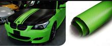 3D Carbon Fiber Car Wrap Vinyl Film 152cm*30m with green decoration car body