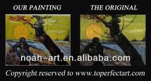 Handmade oil painting autumn landscape on canvas
