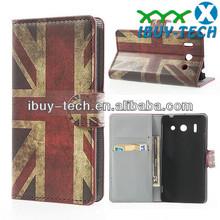 Retro UK national flag folio leather case for huawei g510