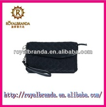 top quality quilted pattern black velvet cosmetic bag