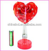 Wholsale Acrylic Heart Shaep Quartz Spring Alarm Clock With Perfume Brazil world cup 2014 souvenir gift