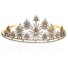Single Cut Diamond Wedding Tiara 14k Yellow Gold Princess Crown Wholesale Victorian Jewelry