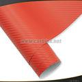 Fábrica al por mayor, 3d de fibra de carbono de vinilo rollo de hoja de etiqueta adhesiva, coche rojo de cuerpo entero calcomanía de la película de vinilo 1.52*30m
