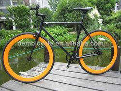 700c balck frame orange rims hot selling deep wall fixie bike