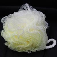 Promotional bath flower scrubber,yellow loofah sponge bath washing