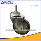 3 Inch PU Wheel Screw Stem Swivel Caster