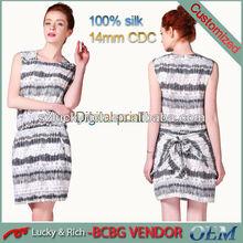 2015 wholesale designer custom cheap women short silk dress