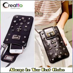 Retro Funky Mobile Phone Sling Crossbody PU Leather Bag Mini Black Rivet Bag