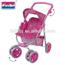 Feili new fabric go action big wheels baby dolls prams push car stroller toy