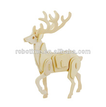 2014 China supplier of DIY 3D wooden toy sika deer