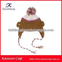 wholesale 100% cotton kufi crochet beanie skull cap knit hat knit beanie children cap with a top ball
