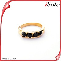 Shaped stainless steel circle gents gold rings with black lustre crystal