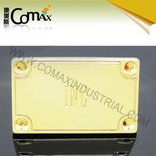 Fashion shiny gold handbag metal name tag with leg