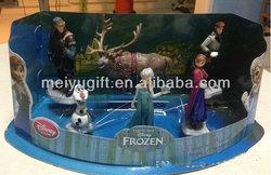 Hot-sale pvc Forzen plastic model dolls decorate,6 designs in one set,Elsa/Anna/Kristoff/Olaf