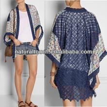 2014 Fashion bobe kimono ladies lace cardigan with trims (NTF04072)