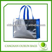 Shiny silver laminated non-woven tote bag