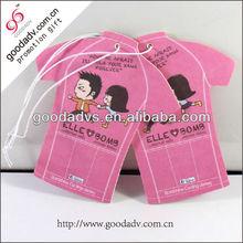 2014 hot selling T-shirt shape cartoon design hanging auto air freshener