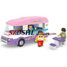 Building Block City Ice-cream Van Truck Bricks Toy Set Great Gift 3 Mini-figures