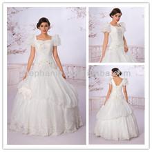 Guangzhou Stephanie Wedding Dress A6775 Elegant Ivory Sweetheart Lace Applique Bodice Organza Ball wedding dresses for fat woman