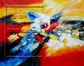 $ 9.5 tamaño 80 x 60 cm venta al por mayor azul pintura al óleo abstracta