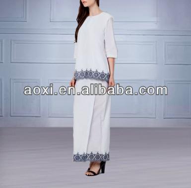 2014 Fashion Ladies Summer White/Black Baju Kurung Kedah Wear With