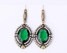 Fashion accessories emerald full rhinestone earrings wholesale