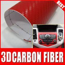 TSAUTOP transparent color plastic film air free bubble pvc car wrap carbon fiber vinyl Red
