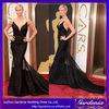 Elegant Trumpet V-neck Sheer Straps Tiered Court Train Oscar Red carpet Black Satin celebrity mermaid dresses