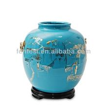 2014 gold & blue hand painted vase unique style