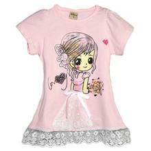 tc18081 wholesale girls clothing cartoon pattern cotton short sleeve cotton baby tshirt