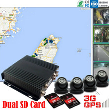 4ch dual SD card taxi security camera recorder, drive proof 3G wireless network G-shock