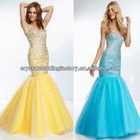 Cheap sweetheart beaded sequined long girls customize 2014 mermaid blue prom dress CWFap5795